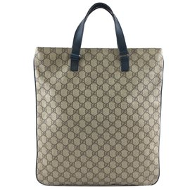 Gucci-Gucci GG Flat Tote Brown Teal Canvas-Beige