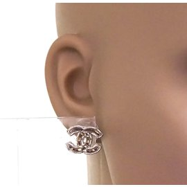 Chanel-Chanel Clear Red CC Colored Glass On Silver Earrings-Multiple colors