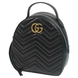 Gucci-Gucci GG Marmont Backpack Womens ruck sack Daypack 476671 black x gold hardware-Black,Gold hardware
