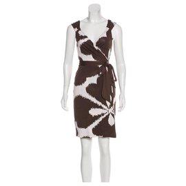 Diane Von Furstenberg-DvF Caledonia silk wrap dress-White,Chocolate