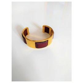 Hermès-Magnifique bracelet en laiton de veau doré Hermès-Marron