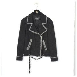 Chanel-BLACK TWEED BIKER FR38-Black