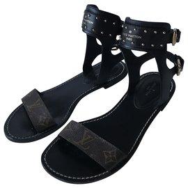 Louis Vuitton-Louis Vuitton gladiator sandals-Black,Dark brown