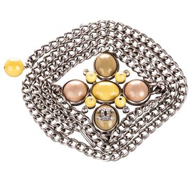 Chanel-Chanel Silver Embellished CC Chain Belt-Silvery,Multiple colors