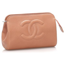 Chanel-Chanel Orange CC Caviar Leather Pouch-Orange