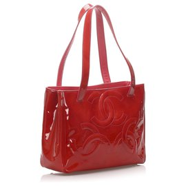 Chanel-Chanel Red Triple Coco Patent Leather Tote Bag-Red