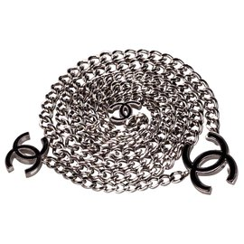 Chanel-Chanel Silver CC Chain Belt-Black,Silvery