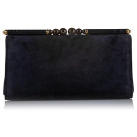 Gucci-Gucci Blue Suede Clutch Bag-Blue,Dark blue