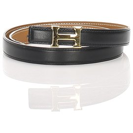 Hermès-Hermes Black Constance Leather Belt-Black,Golden