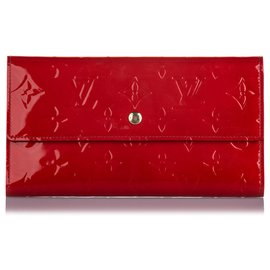 Louis Vuitton-Louis Vuitton Red Vernis Porte Tresor International Wallet-Red