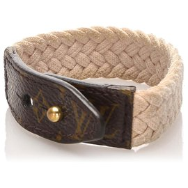 Louis Vuitton-Bracelet monogramme marron Louis Vuitton-Marron,Blanc