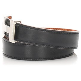 Hermès-Hermes Black Constance Leather Belt-Black,Silvery