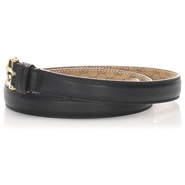 Gucci-Gucci Black Leather Belt-Black,Golden