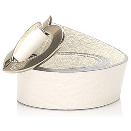 Gucci-Gucci White Heart Leather Belt-White,Golden