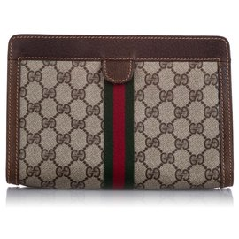 Gucci-Gucci Brown GG Supreme Web Clutch Bag-Brown,Multiple colors,Beige