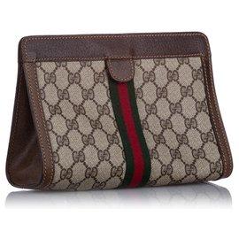 Gucci-Pochette Gucci GG Supreme Web marron-Marron,Multicolore,Beige