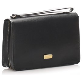 Dior-Dior Black Leather Clutch Bag-Black
