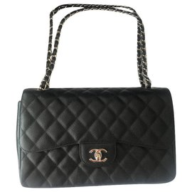 Chanel-Chanel Black Caviar Leather Jumbo Flap Bag-Black