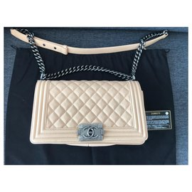 Chanel-Chanel Beige Caviar Leather Boy Bag-Beige