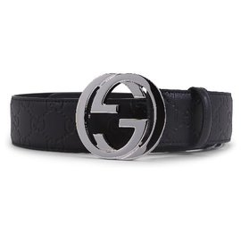 Gucci-Gucci Black Leather Embossed Belt Size 85-Black