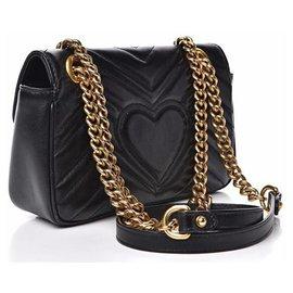 Gucci-Gucci Black Leather Marmont Chain Shoulder Bag-Black