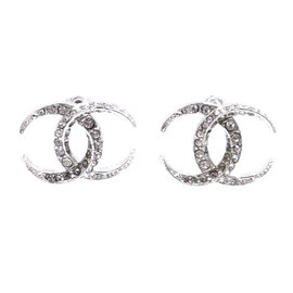 Chanel-Chanel Silver Crystals Dubai Moon CC Earrings-Silvery