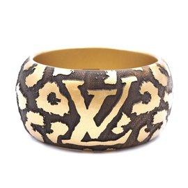 Louis Vuitton-Louis Vuitton Bracelet manchette léopard extra large doré à imprimé animal-Doré