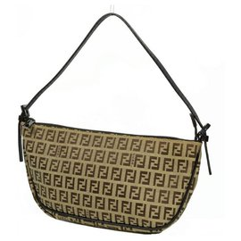 Fendi-FENDI Zucchino one shoulder Womens shoulder bag beige x brown-Brown,Beige
