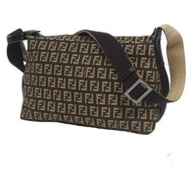 Fendi-FENDI Zucchino cross body Womens shoulder bag brown x beige-Brown,Beige