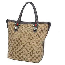 Gucci-Sac cabas Gucci Shelly Femme 232970 beige x marron-Marron,Beige
