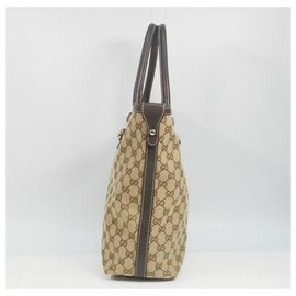 Gucci-Gucci Shelly Womens tote bag 232970 beige x brown-Brown,Beige