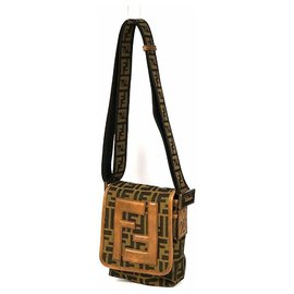 Fendi-FENDI Zucca one shoulder cross body Womens shoulder bag 7VA155/MX7 khaki x brown-Brown,Khaki