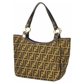 Fendi-FENDI Zucca shoulder Womens shoulder bag 8BH156-JWU khaki x brown-Brown,Khaki