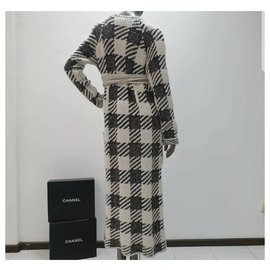 Chanel-Chanel Checkered Cashmere Cardi Coat  Sz.34-Multiple colors