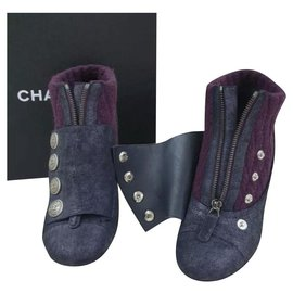 Chanel-Chanel Wool Leather Logo Buttons  Ankle Boots Booties Sz. 38,5-Multiple colors