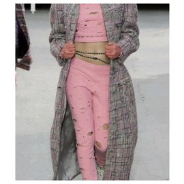 Chanel-Chanel Supermarket Runway Pink Wool Pant Suit Sz 34-Pink