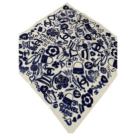 Chanel-CHANEL white and blue scarf-Multiple colors