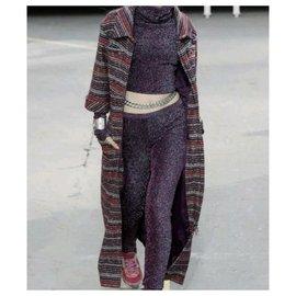Chanel-Chanel Supermarket Runway Purple Metallic Viscose Pant Suit Sz 36-Multiple colors