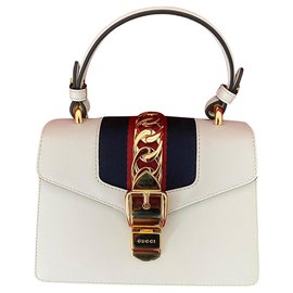 Gucci-SYLVIE mini leather bag-Cream
