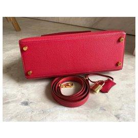 Hermès-hermes kelly 25 Rouge Vif Chevre GHW-Red