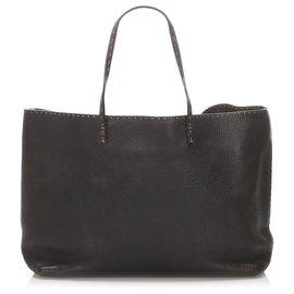 Fendi-Fendi Black Selleria Leather Tote Bag-Black