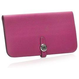 Hermès-Hermes Pink Dogon Leather Long Wallet-Pink