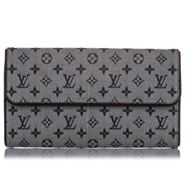 Louis Vuitton-Louis Vuitton Gray Monogram Mini Lin Porte Tresor International Wallet-Blue,Other,Grey