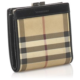 Burberry-Burberry Brown House Check Canvas Wallet-Brown,Multiple colors,Beige