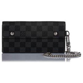 Louis Vuitton-Louis Vuitton Black Damier Graphite Portefeuille Long Wallet-Black