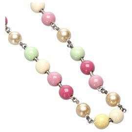Chanel-Chanel Pink Faux Pearl Necklace-Pink,Multiple colors