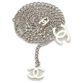 Chanel-Chanel Silver CC Chain Belt-Silvery,White,Cream