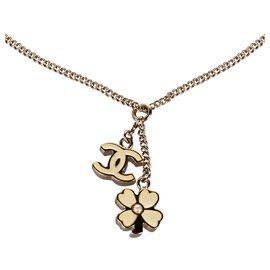 Chanel-Chanel Gold CC Clover Pendant Necklace-White,Golden,Cream