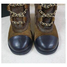 Chanel-Chanel Paris - Salzburg Brown Fur Ankle Boots CC Sz.38-Brown