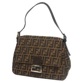 Fendi-FENDI Zucca one shoulder ma MMa bucket Womens shoulder bag khaki x brown-Brown,Khaki